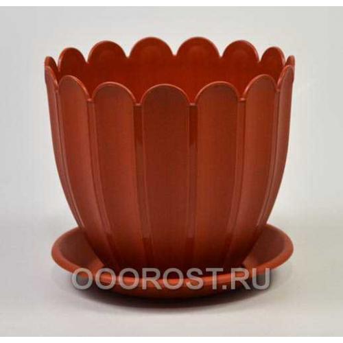 Горшок Марго d14см коричневый с поддоном