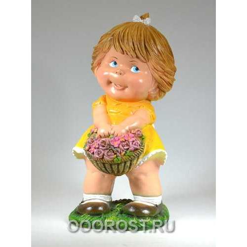 Фигура Девочка с корзиной цветов H47см