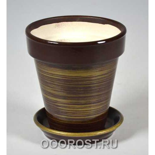 Горшок Наперсток (Глянец шокол-золото)  d12см, h12,5см, 0,6л