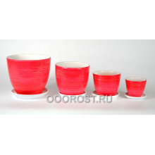 Комплект из 4 горшков Саванна красная 5л, 2,5л, 1л, 0,4л