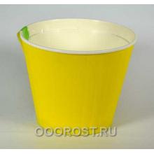 Горшок Ибис с двойным дном 15,7*13 желт-бел