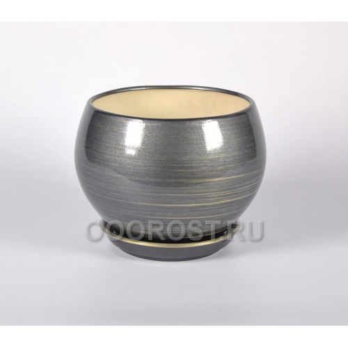 Горшок Шар №1 (глянец графит-золото) 4,1л  d23см