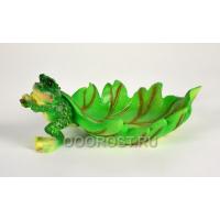 Садовая фигура Лягушка тянет листок h 11 см