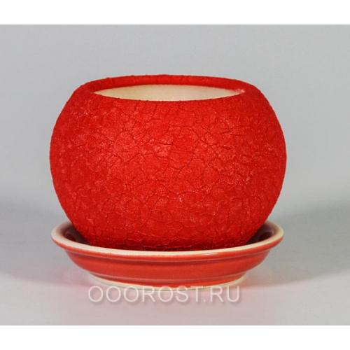 Горшок Шар №3  (шелк красный)  0,4л  d11см