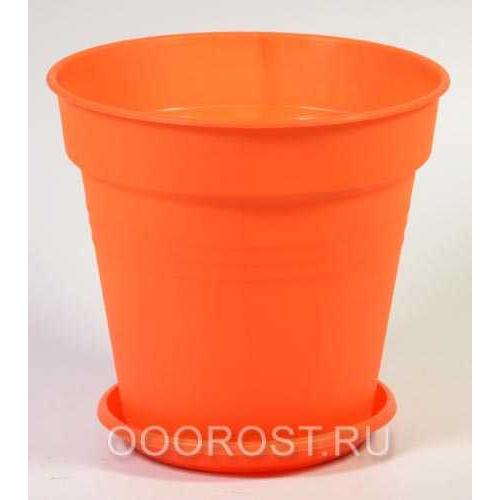 Горшок Глория с поддоном 14,5*14 оранжевый