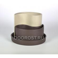 Горшок Капля крошка бежево-шоколадный d20см, h 8-15см, 0.7 л, 1.3 л