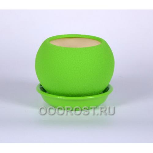 Горшок Шар №3  (шелк лайм)  0,4л  d11см