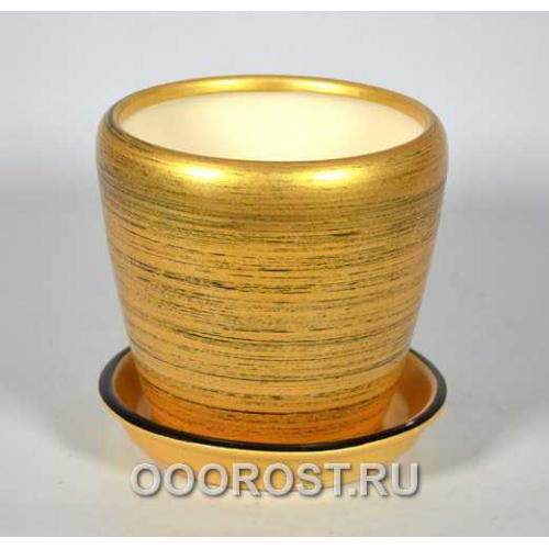 Горшок Грация №4 (глянец зол-черный) 1,2л d13,5см