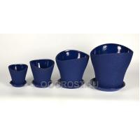 Комплект Волна из 4-х шелк синий  d28, 23, 17, 13 см