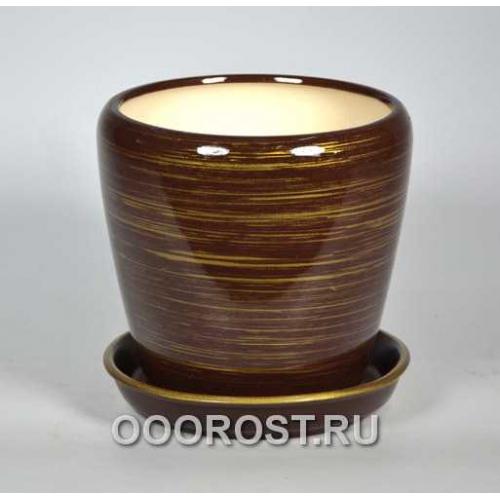 Горшок Грация №3 (глянец шоколад-золото) 2,3л d17см