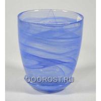 Стеклянный горшок №4 с поддоном Голубой