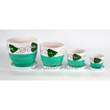 Комплект из 4-х горшков Венок зеленый 5л, 2,5л, 1л, 0,4л