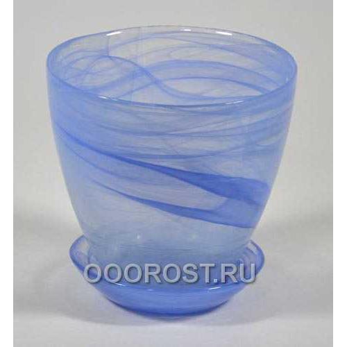 Горшок стеклянный №2 с поддоном Голубой