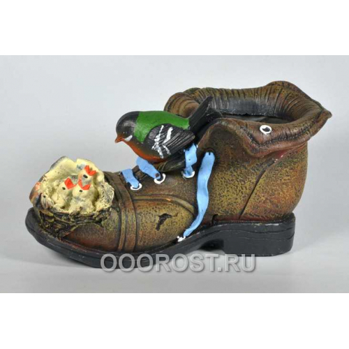 Кашпо Ботинок с гнездом h 14 см
