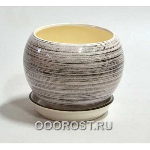 Горшок Шар №2  (глянец Бело-черный)   1,4л  d16см