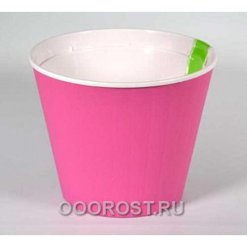 Горшок Ибис с двойным дном 15,7*13 роз-бел