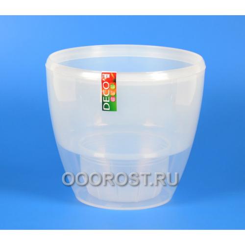 Горшок ДЕКО-ТВИН 4л прозрачный, d20см, h17.5см