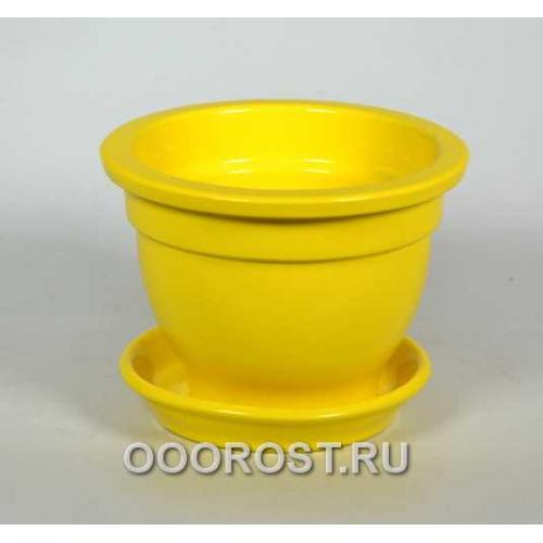 Горшок Фиалочница 0,5л (глянец желтый) d12см