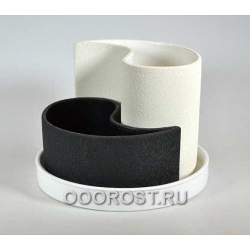 Горшок Капля (шелк черно-белый) d20см, h 8-15см