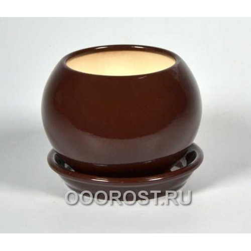 Горшок Шар №3  (глянец Шоколад) 0,4л  d11см