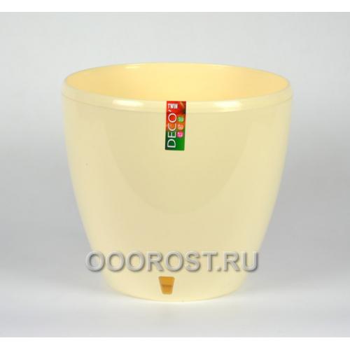 Горшок ДЕКО-ТВИН 9л, Крем, d26.5см, h23.5см (с окошком)