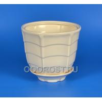 Керамическое кашпо Паутинка №3 белое 2.5л, d17см, h15см