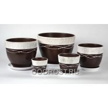 Комплект из 5 горшков Тюльпан-Факт коричневый  8л, 5л, 2,5л, 1л, 0,4л