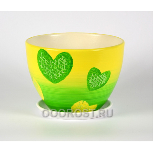 Горшок Биколор (зеленый) №6 Овал (d26см, h20см, v 6л)