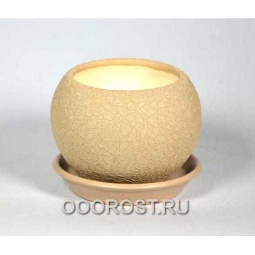 Горшок Шар №3  (шелк капучино)  0,4л  d11см