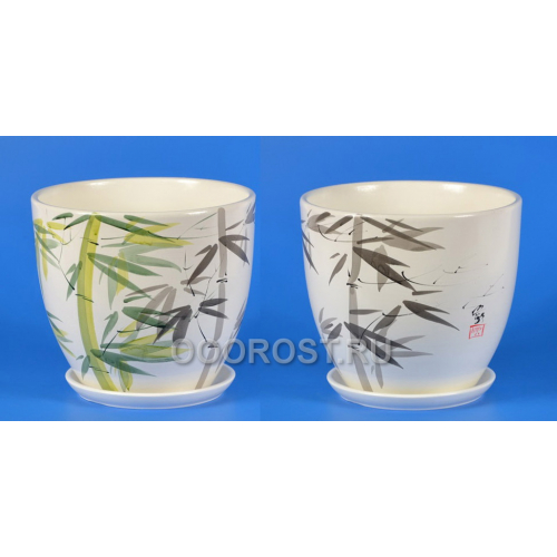 Горшок Молодой бамбук №3 Высокий овал (d15см, h13,5см, v 1,5л)