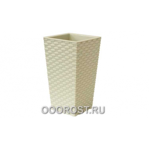 Кашпо Ротанг квадрат D26см H45,7см Белый