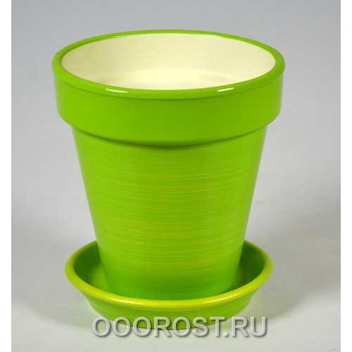 Горшок Наперсток (Глянец салат-золото)  d12см, h12,5см, 0,6л