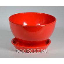 Горшок Бонсайница глянец красный     d17см, h10см