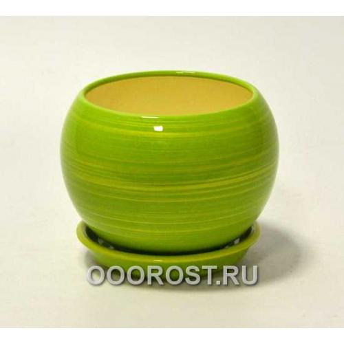 Горшок Шар №2 глянец салат-золото 1,4л d16см