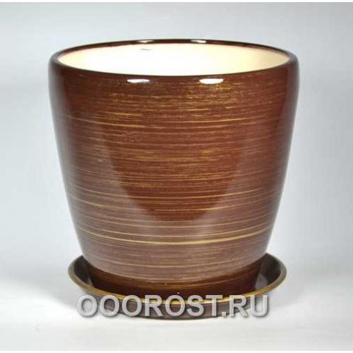 Горшок Грация №1 (глянец шоколад-золото) 10л, d26см, h26см