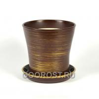 Керамический горшок Вуаль глянец шоколад-золото 1 л, d14.5, h14 см