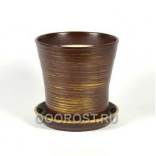 Горшок Вуаль глянец шоколад-золото 1 л, d14.5, h14 см