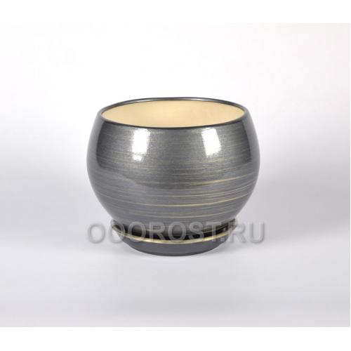 Горшок Шар №2 глянец графит-золото 1,4л d16см