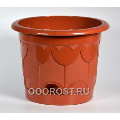 Горшок Тюльпан d16см коричневый с поддоном