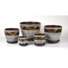 Комплект из 5 горшков Тюльпан-Папоротник перл.   8л, 5л, 2,5л, 1л, 0,4л