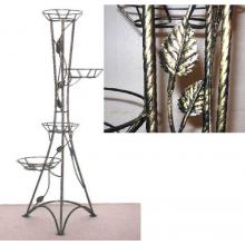 Подставка металлическая для цветов Классика на 4 горшка (Витая) с листочками  H 119см
