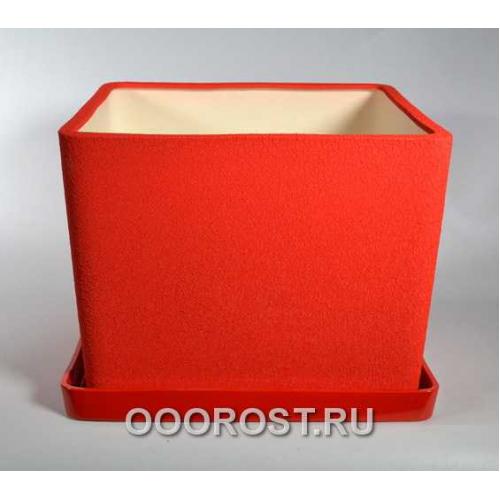 Керамический горшок Квадрат №1 шелк красный 17л, d 29,5см, h 21см