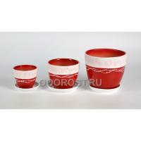 Комплект из 3 горшков Тюльпан-Факт красный 2.5л, 1л, 0.4л