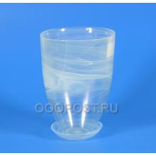 Горшок стеклянный Тюльпан Белый с поддоном d16см, h23см