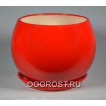 Горшок Шар 9л  (глянец Красный) d27см, h23см