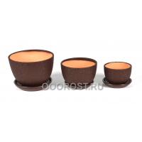 Комплект из 3 горшков Кувшинка шелк коричневый D17, 13.5, 10см