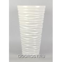 Керамическое кашпо Цилиндр-Волна глянец белый h50см,d28см