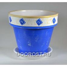 Горшок 13л Подарочный синий   d33см, h29см