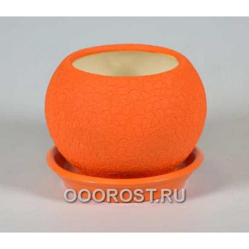 Горшок Шар №3  (шелк оранж)  0,4л  d11см