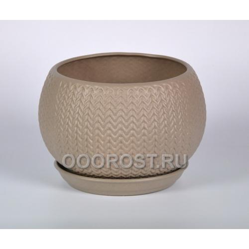 Керамический горшок Шар 5л КОСА крошка капучино
